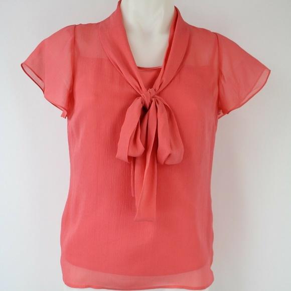 St John Tops - St. John Coral Sheer  Short Sleeve Blouse Size 2